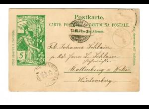 Postkarte Zürich 1900 nach Rottenburg/N