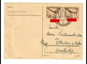 Postkarte Olympiade 1936: Fahrbares Postamt nach Rottenburg/N