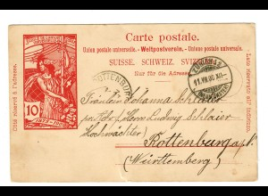 Postkarte Zürich-Neumünster 1900 nach Rottenburg/N