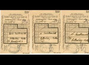 GG: 3x Einlieferungsschein für Einschreiben Tschenstochau 1944