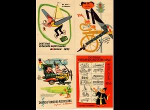 Sonderkarten Verkehrsausstellung 1953 München mit Sonderstempel und Marken