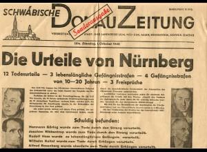 Schwäbische Donau Zeitung: Sonderausgabe 1.10.1946: Urteile von Nürnberg