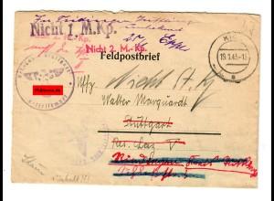 Feldpostbrief 1943: Kirn/Nahe, Lazarett nach Stuttgart: zur+ck an Absender