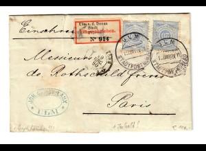 Einschreiben Ulm 1880 - Stadtpost Büro Stempel nach Paris, Inhalt