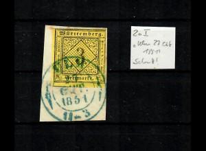 3 Kreuzer, Stempel Ulm 1851 blau, Briefstück