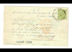 Besuchsanzeige Ulm / Stadtpost 1897 nach Coburg, Emmentaler/Schweizer/Käse