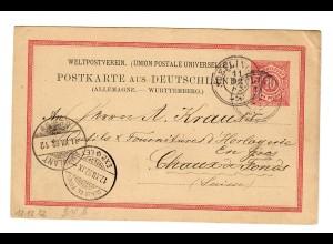 Ganzsache Söfingen 1182 nach Chaux de Fonds/CH