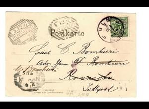 Ansichtskarte Ulm 1897 nach Roverto/Italien