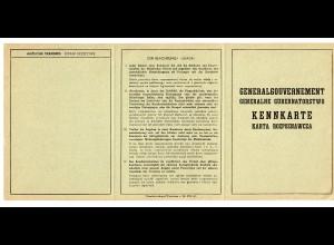 GG: Blanko Kennkarte für das Generalgouvernement, gute Erhaltung