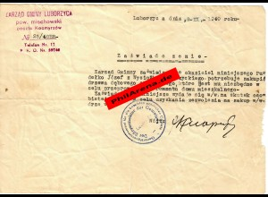 GG: Bescheinigung Bürgermeister Wysiolka-Luborzyckiego 1940 für Zimmerer