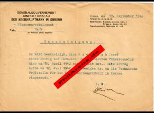 GG: Bescheinigung Krosno: Antrag auf Umtausch des polnischen Führerscheins 1942