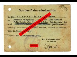 GG:Sonder-Fahrraderlaubnis 1942,Puszcza Marjanska, Gemeinde Korabiewice,Lowitsch