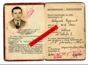 GG: Bescheinigung Mitgliedschaft Genossenschaft Spolem: Kamienin, Lublin