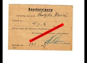 GG: Bescheinigung: Frei von Läusen und ansteckenden Krankheiten, Radomsko 1943