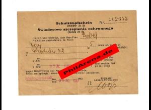 GG: Schutzimpfung gegen Typhus: Malogoszoz 1942 für 5-jährigen