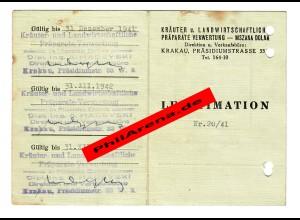 GG: Ausweis Kräuter- Landwirtschaftliche Präparate Verwertung, Krakau 1941-43
