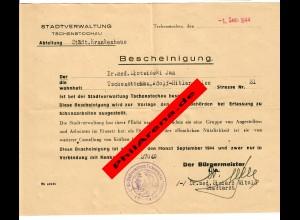 GG: Bescheingung Tschenstochau für September 1944: Freistellung Schanzarbeiten