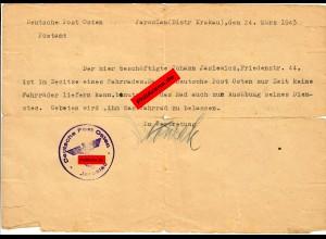 GG: Bescheinigung Dienst-Fahrrad der Deutschen Post Osten 1943, Jaroslau