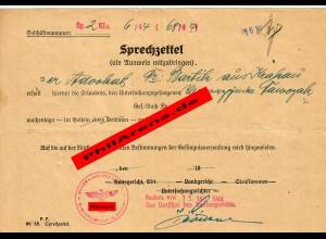GG: Sprechzettel für Anwalt zum Besuch im Gefängnis 1944