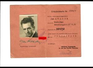 GG: Erlaubniskarte für Photograph in Warschau 1944/45