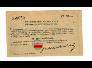 GG: Kontributionsbescheid über 30Zl, 1944 Warschau