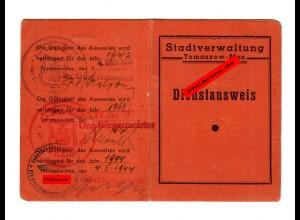 GG: Ausweiskonvolut Tomaszow-Maz. Dienstausweis, Arbeitsamt Besch. Kennkarte