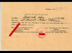 GG: Freistellung vom Stellungsbau aus dem Spezial Lazarett Krakau 09.1944