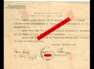 GG: Passierschein USA-Bürger Kulm/Wyzyce/Bochnia: Auswanderung: 7.11.1939