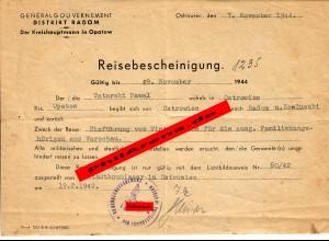 GG: Reisebescheinigung Ostrowiec/Opatow nach Radom/Koluszki November 1944