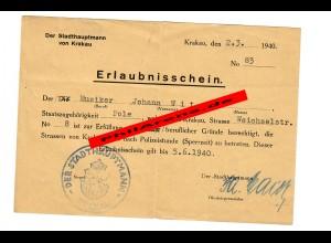 GG: Erlaubnisschein für Musiker Krakau, 1940