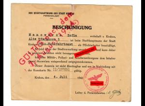 GG: Bescheinigung Krakau: Mitarbeiter der Stadtverwaltung 1942