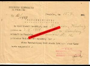 GG: Polnisches Hilfskomitee Stanislau 1943: Bescheinigung über Nationalität
