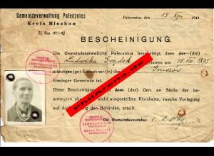 GG: Bescheinigung Miechow/Gruszow als Bürger der Gemeinde 1943