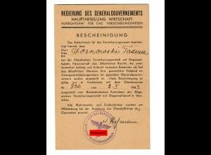 GG: Bescheinigung Aufsichtsamt für Versicherungswesen 1943