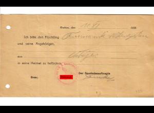 GG: Flüchlingsausweis 10.11.1939