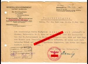 GG: Bescheinigung Buchhalter von Glowno nach Stanislau 1944