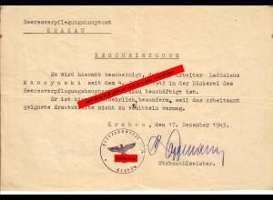 GG: Bescheinigung Bäckerei Heeresverpflegungsamt 1943 in Krakau