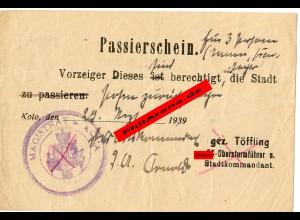 Passierschein für 3 Personen Kolo 29.09.1939,