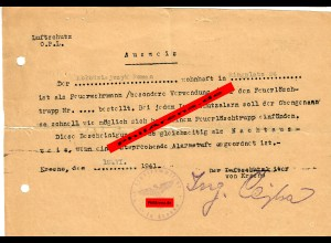 GG: Ausweis/Nachtausweis Luftschutz für Feuerwehrmann 1941