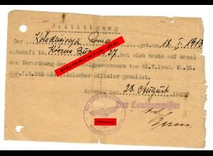 GG: Bestätigung der regelmäßigen Meldung eines polnischen Offiziers 1940, Krosno