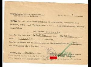 GG: Urlaubsbestätigung Brzowzow/Lemberg 1944, Landwirtschaftliche Zentralstelle