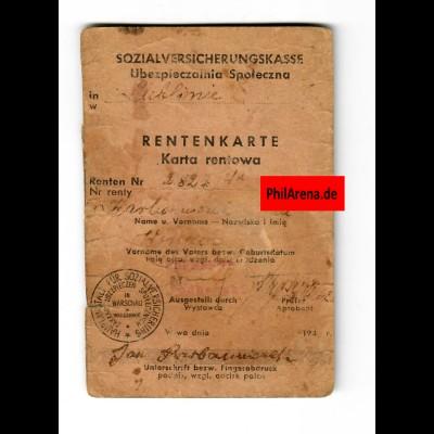 GG: Rentenkarte Lublin Hauptanstalt für Sozialversicherung Warschau