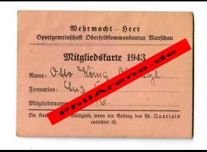 GG: Mitgliedskarte Sportgemeinschaft Oberfeldkommandantur Warschau 1943