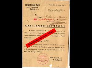 GG: seltener Kontributionsbescheid über 200Zl, 1944 Marki