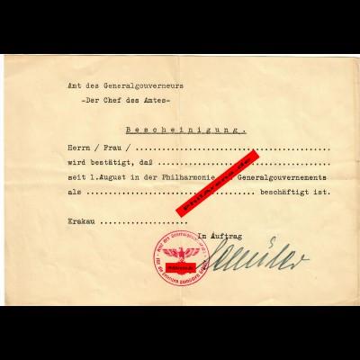 GG:Blankobescheinigung für Mitarbeiter der Philharmonie in Krakau