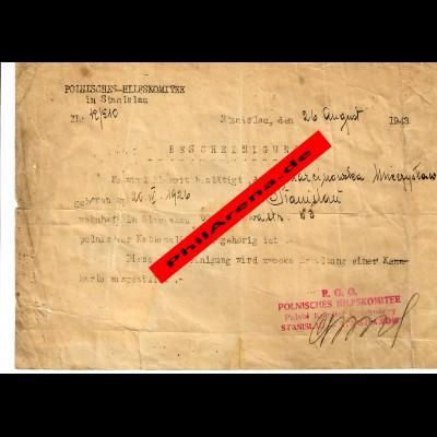 GG Polnisches Hilfskomitee R.G.O.Stanislau 1943: Bescheinigung Pol. Nationalität