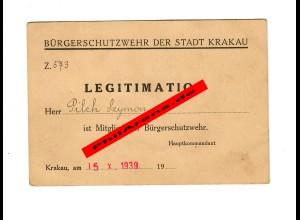 GG: Mitgliedsausweis der Bürgerschutzwehr der Stadt Krakau, 15.10.1939