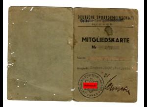 GG: Mitgliedskarte Deutsche Sportgemeinschaft Ostbahn/Krakau, 1942