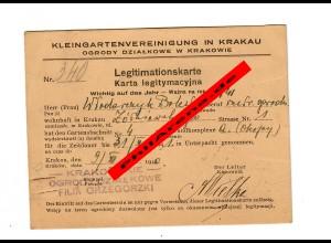 GG: Kleingartenvereinigung Krakau: Mitgliedsausweis 1940/41