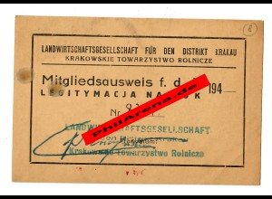 GG: Mitgliedsausweis Landwirtschaftsgesellschaft Distrikt Krakau 194x, Tarnow